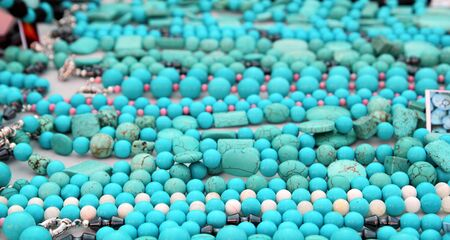 turquoise precious stone necklace jewellery in a retail shop photo