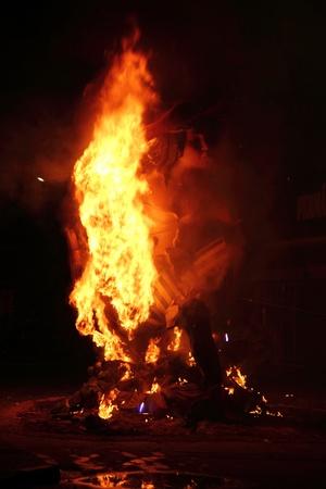 valencia: fallas fest fire burning figures in Valencia Spain in march 19th