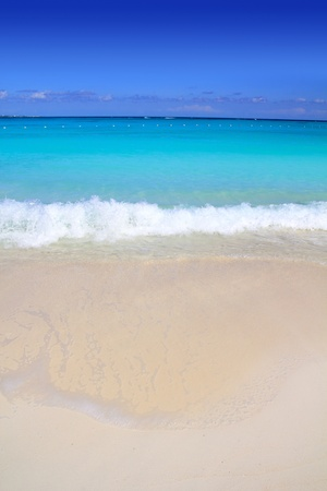 mayan riviera: Caribbean turquoise sea beach shore white sand Stock Photo
