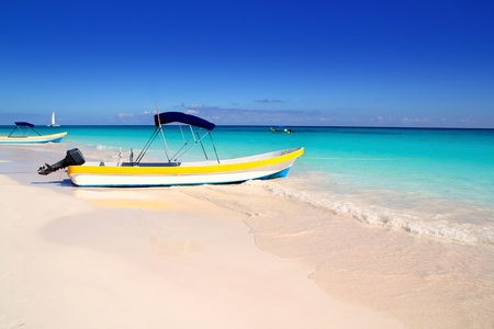 boats in tropical perfect beach from Mexico Caribbean Stock Photo