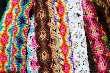 Chiapas Mexico colorful handcrafts belts and bracelets Stock Photo - 10489696