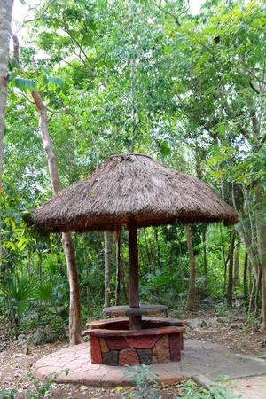 palapa: cabin palapa wooden hut traditional from Mexico palafito house Stock Photo