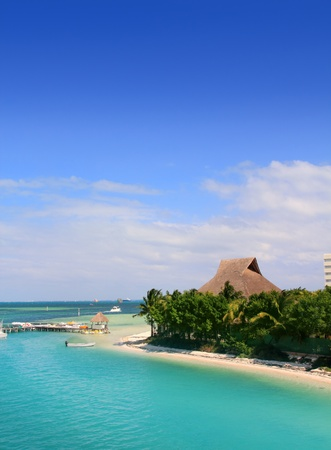 cancun: Cancun Mexico Lagoon and Caribbean sea in Mayan Riviera Stock Photo