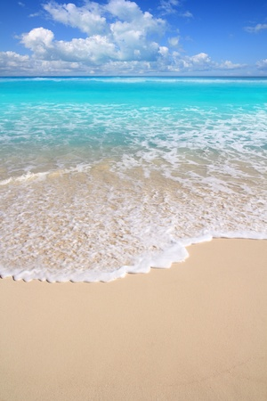 atlantic ocean: Caribbean perfect turquoise white sand beach in a sunny day at Mayan Riviera