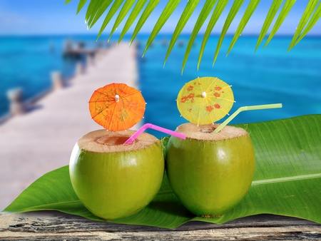 alcoholic drinks: coconut straw cocktails in tropical caribbean sea pier