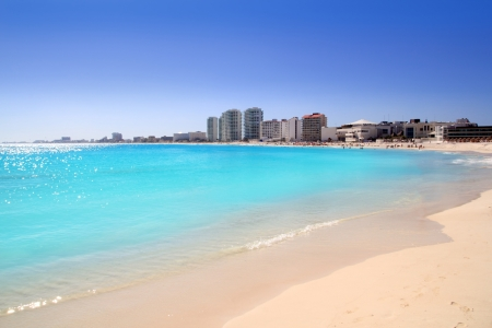 cancun: Cancun beach view from turquoise Caribbean sea summer vacation destination