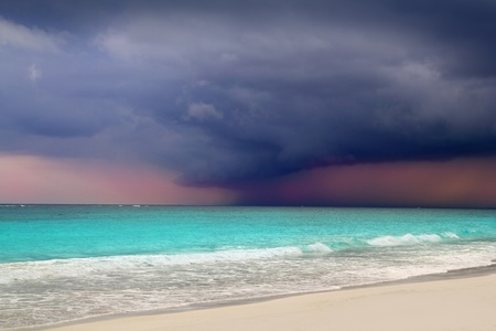 tulum: hurricane tropical storm beginning Caribbean sea dramatic sky Tulum