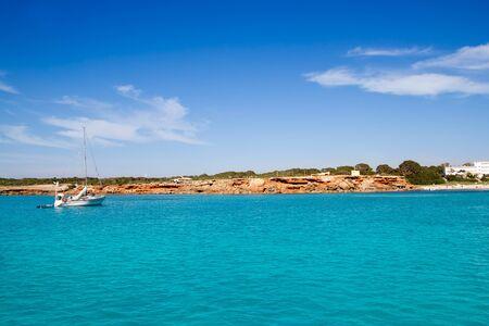 Cala Saona Formentera ibiza island sailboat anchor in balearic Spain Stock Photo - 10489846