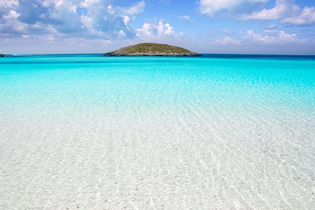 baleares: Formentera beach illetas a white sand with turquoise water perfect Balearic paradise Stock Photo