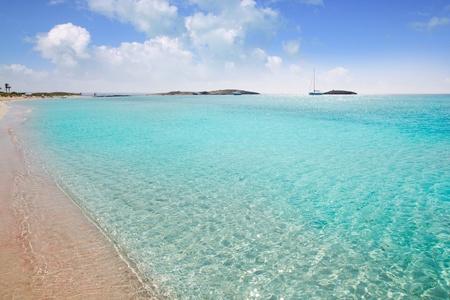 formentera: Formentera beach illetas a white sand with turquoise water perfect Balearic paradise Stock Photo
