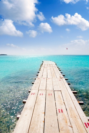 formentera: Formentera beach wood pier over turquoise water from balearic Mediterranean sea paradise