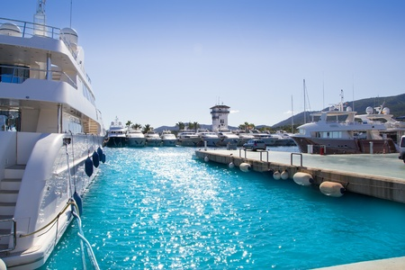 portals: Calvia Puerto Portals Nous luxury yachts in Majorca Balearic Island from Spain Stock Photo
