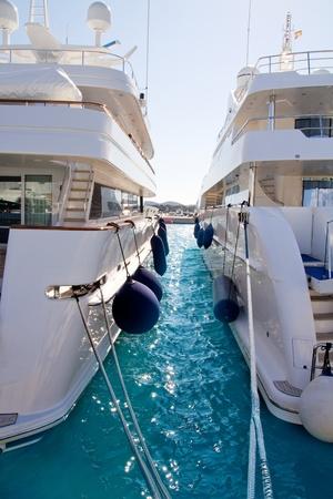 moored: Calvia Puerto Portals Nous luxury yachts in Majorca Balearic Island from Spain Stock Photo