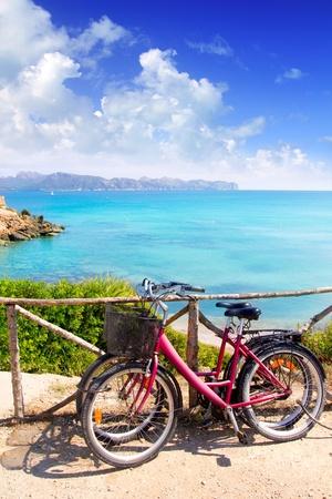mallorca: Alcudia Mallorca Playa de S Illot La Victoria turquoise water in Balearic Majorca Island from Spain