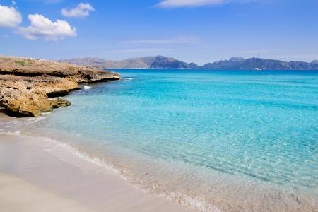 balearic: Alcudia beach in Cala San Pere from Balearic Mallorca island at Spain Stock Photo