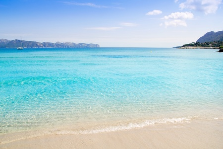 mallorca: Alcudia beach in Cala San Pere from Balearic Mallorca island at Spain Stock Photo