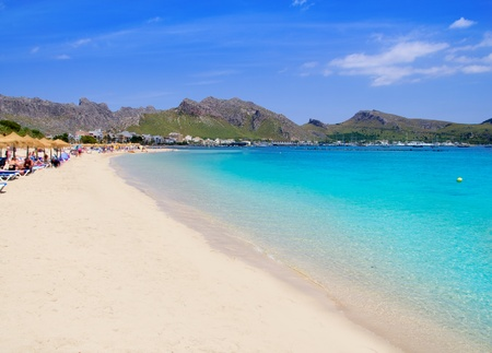 majorca: Pollensa Port sand beach in Mediterranean Mallorca island at Balearic Spain