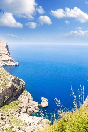 Formentor cape to Pollensa high aerial sea view in Mallorca balearic islands photo