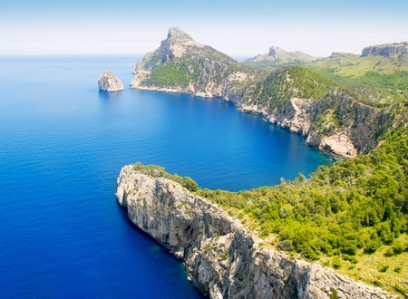 balearic: Formentor cape to Pollensa high aerial sea view in Mallorca balearic islands Stock Photo