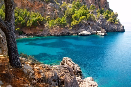 Escorca Sa Calobra beach in Mallorca balearic island from Spain