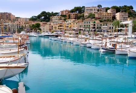 majorca: Puerto de Soller Port of Mallorca with lllaut boats in balearic island