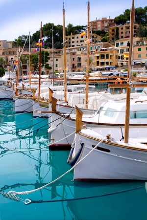 baleares: Puerto de Soller Port of Mallorca with lllaut boats in balearic island