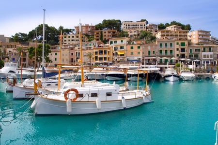 Puerto de Soller Port of Mallorca with lllaut boats in balearic island photo