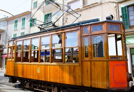 majorca: Classic wood tram train of Puerto de Soller in Mallorca island from Spain