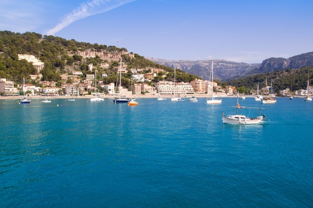 Soller port in Majorca island with tramontana mountain on background at Spain photo
