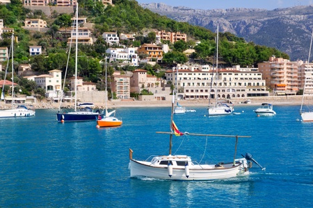 majorca: Soller port in Majorca island with tramontana mountain on background at Spain Stock Photo