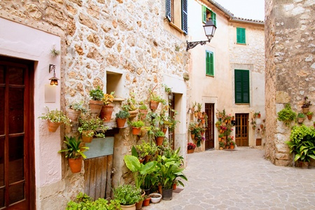 Majorca Valldemossa typical village with flower pots in facades at Spain Stock Photo - 10640857