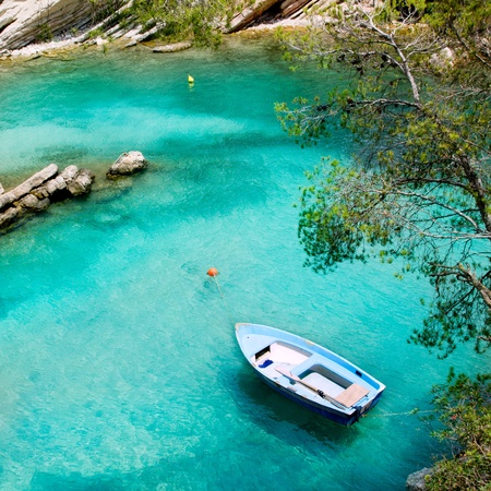 majorca: Calvia Cala Fornells turquoise mediterranean in Majorca at balearic islands of Spain