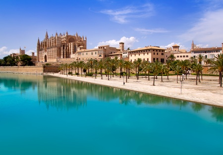 Majorca La seu Cathedral and Almudaina from Palma de Mallorca in Spain Stock Photo