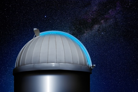 observatory: astronomical observatory dome in stars sky night