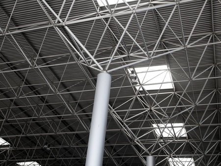 roof beam: Industrial steel ceiling roof construction with 3d round beams Stock Photo