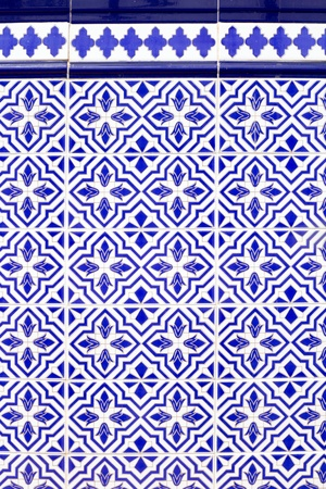 Andalusian style spanish blue ceramic tiles pattern photo