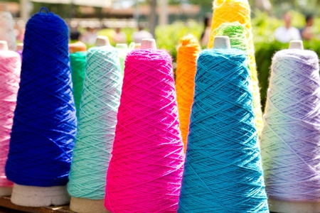 polyester: Embroidery colorful thread spool in rows