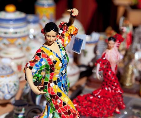 flamenco: gipsy flamenco dancer woman statue crafts in Spain