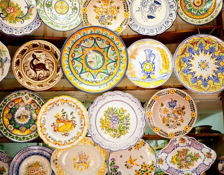 souvenir traditional: ceramic traditional plates in Valencia clay crafts