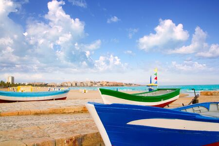 beached: beach of Salou with beached boats in Tarragona Catalonia Spain