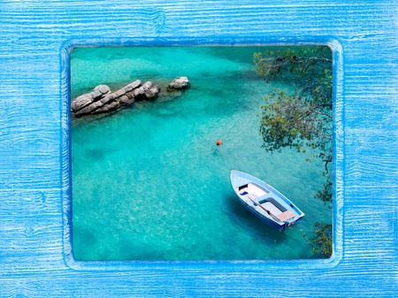 beach buoy: blue wood border frame with Mallorca beach high view