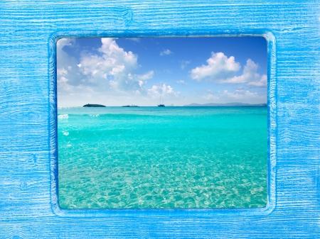 balearic: blue wood border frame with Ibiza Formentera beach