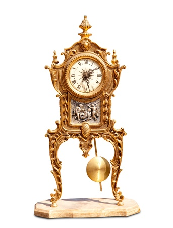 grandfather clock: ancient vintage brass pendulum clock isolated on white