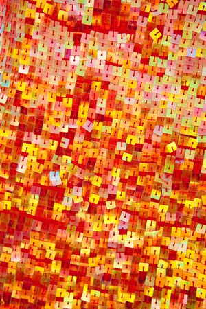 sequin: colorful red yellow sequins with square shape in fashion dress
