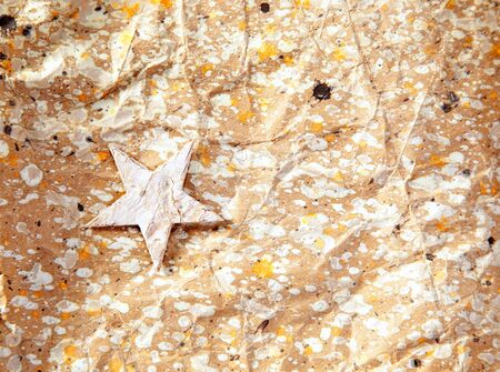 christmas star background on recycle crumpled paper Stock Photo - 10742797