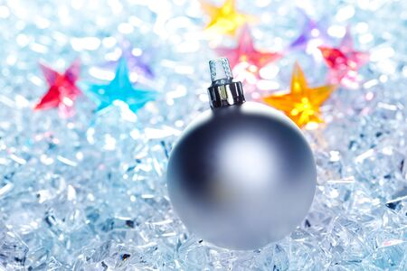 christmas baubles silver on winter ice with star symbol shapes Stock Photo - 10743145