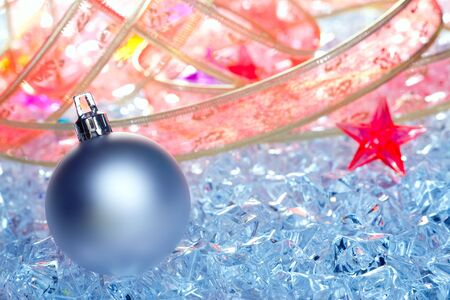 christmas baubles silver on winter ice with star symbol and ribbon Stock Photo - 10742986