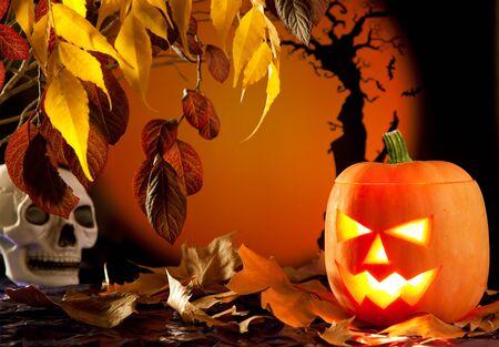 Halloween orange pumpkin lantern with autumn leaves Stock Photo - 10838088