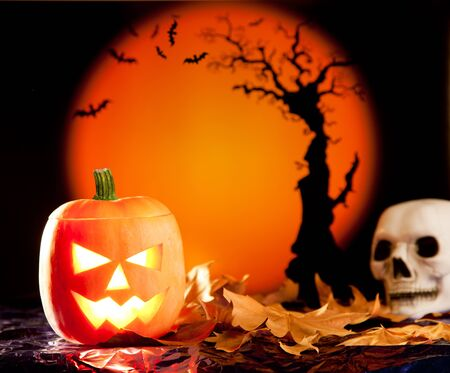 Halloween orange pumpkin lantern with autumn leaves Stock Photo - 10838062