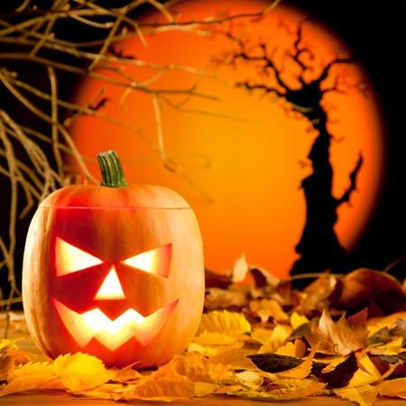 tallado en madera: Linterna de calabaza de Halloween naranja con hojas de otoño
